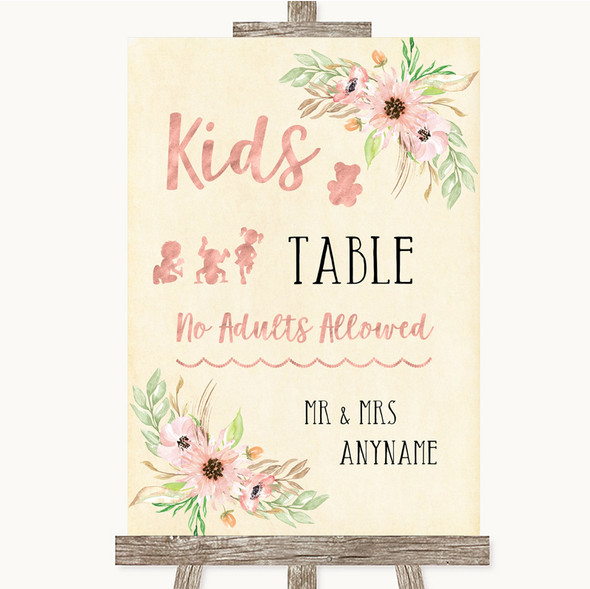 Blush Peach Floral Kids Table Personalised Wedding Sign