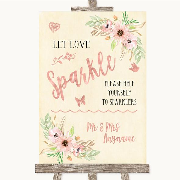 Blush Peach Floral Let Love Sparkle Sparkler Send Off Personalised Wedding Sign