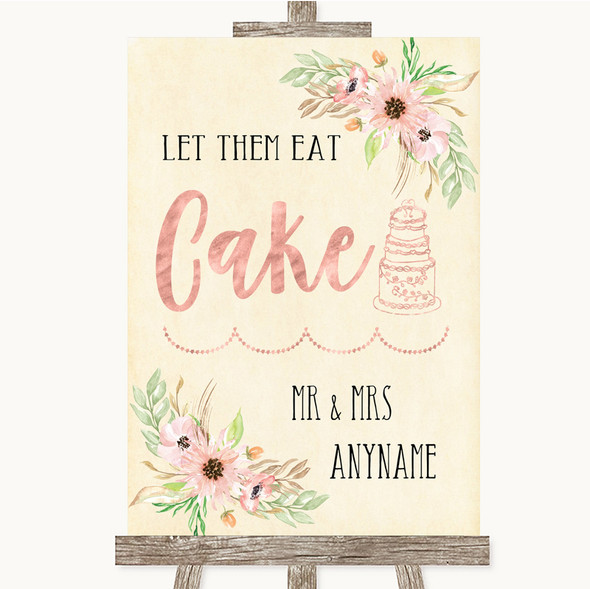 Blush Peach Floral Let Them Eat Cake Personalised Wedding Sign