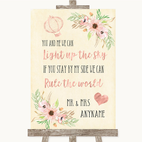 Blush Peach Floral Light Up The Sky Rule The World Personalised Wedding Sign