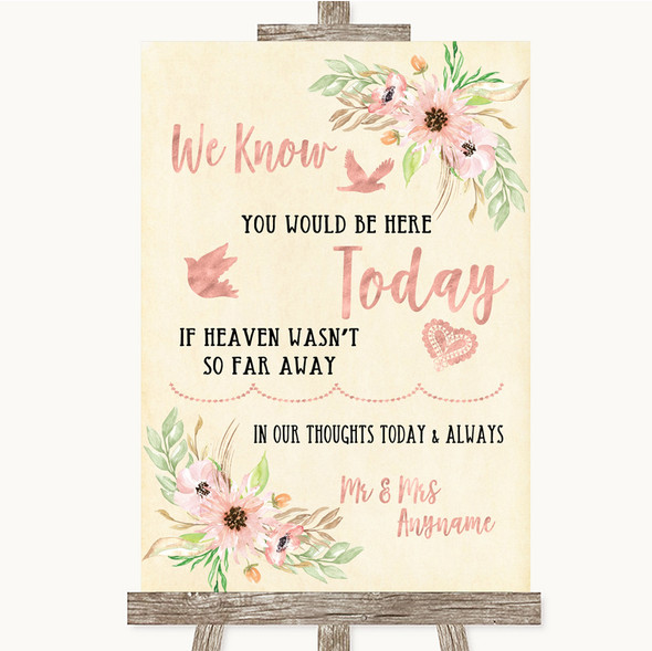 Blush Peach Floral Loved Ones In Heaven Personalised Wedding Sign