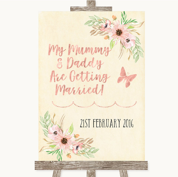 Blush Peach Floral Mummy Daddy Getting Married Personalised Wedding Sign
