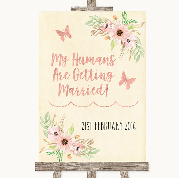 Blush Peach Floral My Humans Are Getting Married Personalised Wedding Sign
