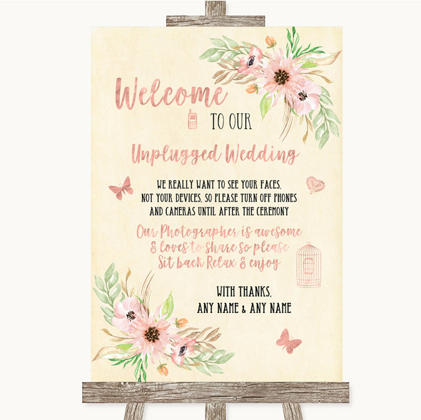 Blush Peach Floral No Phone Camera Unplugged Personalised Wedding Sign