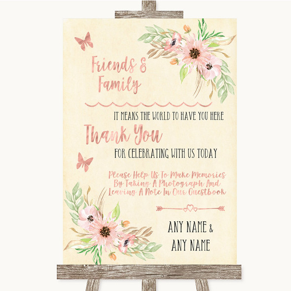 Blush Peach Floral Photo Guestbook Friends & Family Personalised Wedding Sign
