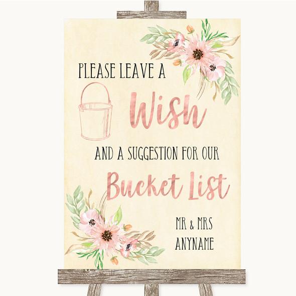 Blush Peach Floral Bucket List Personalised Wedding Sign
