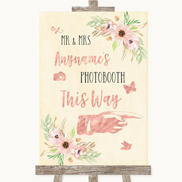 Blush Peach Floral Photobooth This Way Right Personalised Wedding Sign
