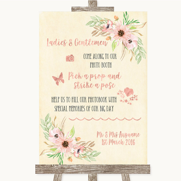 Blush Peach Floral Pick A Prop Photobooth Personalised Wedding Sign