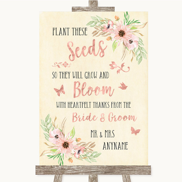 Blush Peach Floral Plant Seeds Favours Personalised Wedding Sign