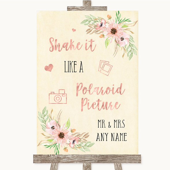 Blush Peach Floral Polaroid Picture Personalised Wedding Sign