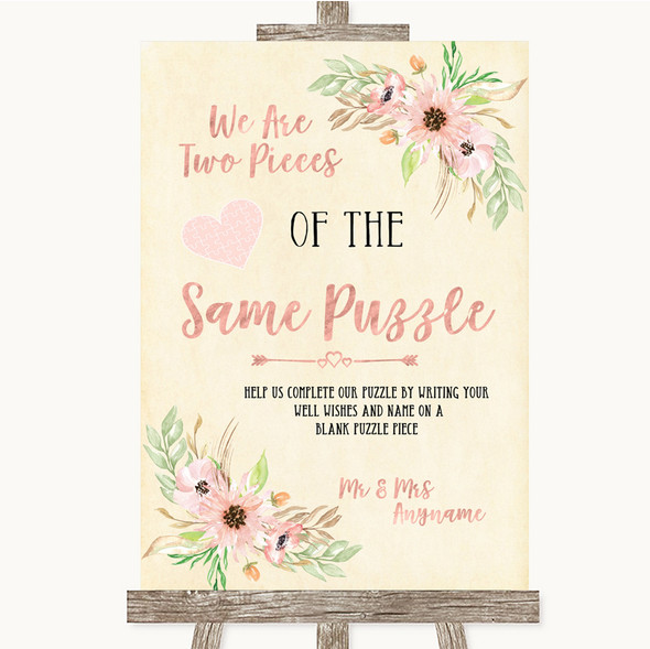 Blush Peach Floral Puzzle Piece Guest Book Personalised Wedding Sign