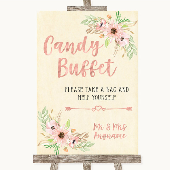 Blush Peach Floral Candy Buffet Personalised Wedding Sign