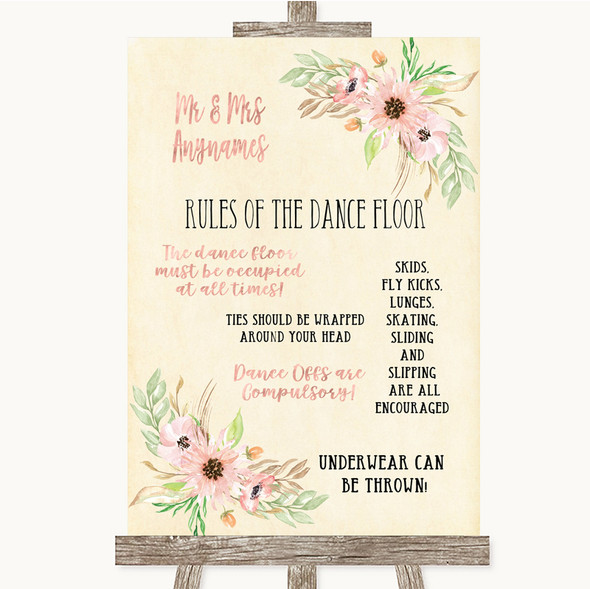 Blush Peach Floral Rules Of The Dance Floor Personalised Wedding Sign