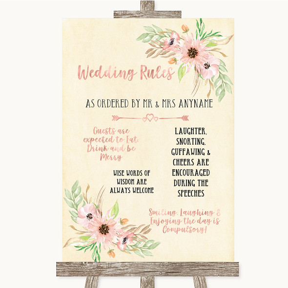 Blush Peach Floral Rules Of The Wedding Personalised Wedding Sign