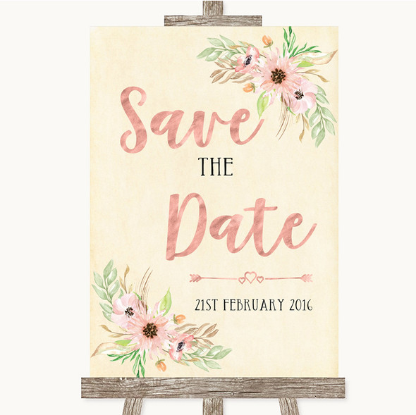 Blush Peach Floral Save The Date Personalised Wedding Sign