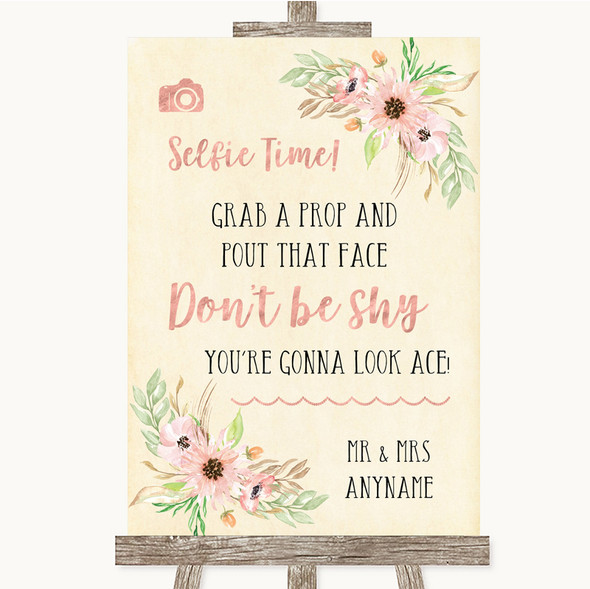 Blush Peach Floral Selfie Photo Prop Personalised Wedding Sign