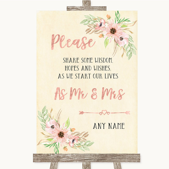 Blush Peach Floral Share Your Wishes Personalised Wedding Sign