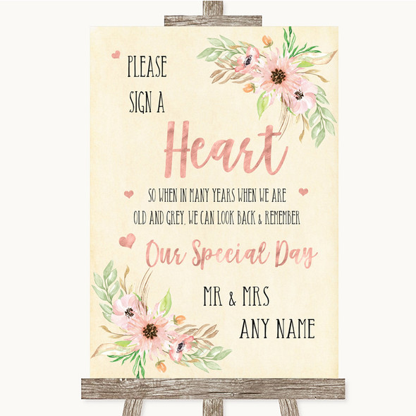 Blush Peach Floral Sign a Heart Personalised Wedding Sign