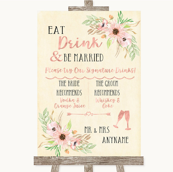 Blush Peach Floral Signature Favourite Drinks Personalised Wedding Sign