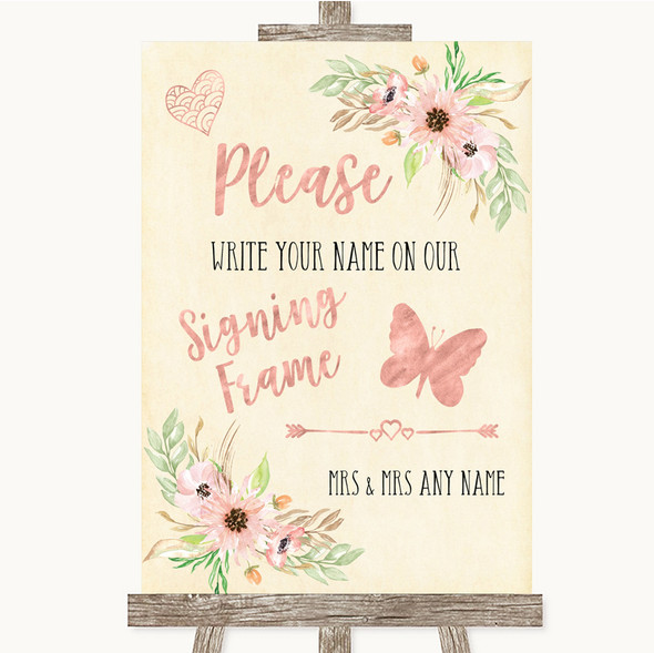 Blush Peach Floral Signing Frame Guestbook Personalised Wedding Sign