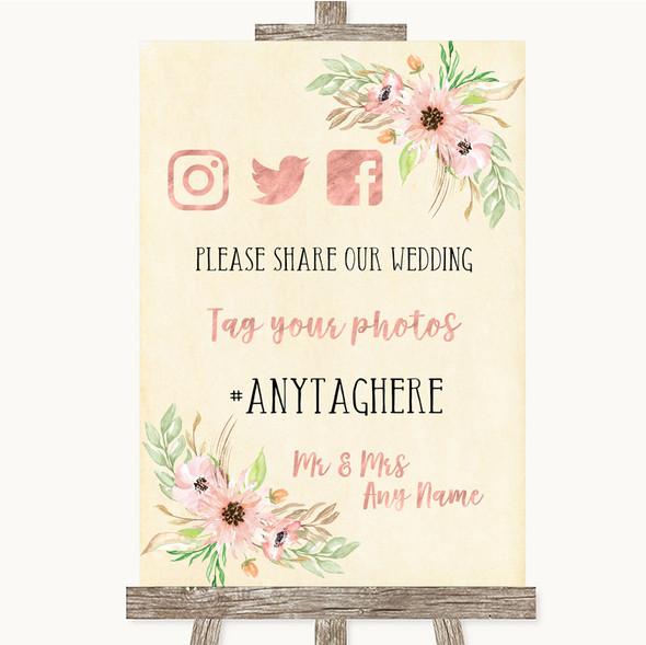 Blush Peach Floral Social Media Hashtag Photos Personalised Wedding Sign