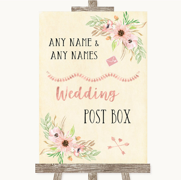 Blush Peach Floral Card Post Box Personalised Wedding Sign
