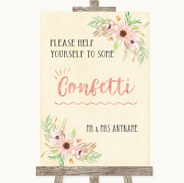 Blush Peach Floral Take Some Confetti Personalised Wedding Sign