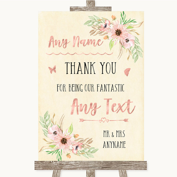 Blush Peach Floral Thank You Bridesmaid Page Boy Best Man Wedding Sign