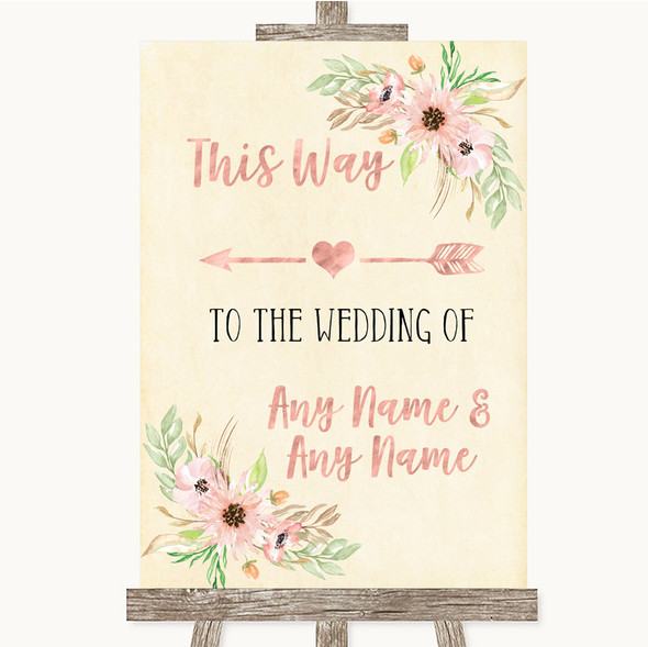 Blush Peach Floral This Way Arrow Left Personalised Wedding Sign
