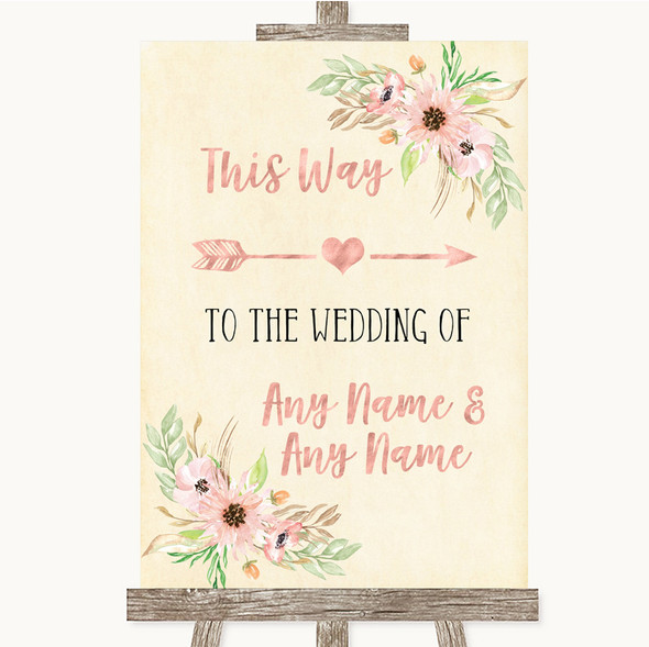 Blush Peach Floral This Way Arrow Right Personalised Wedding Sign