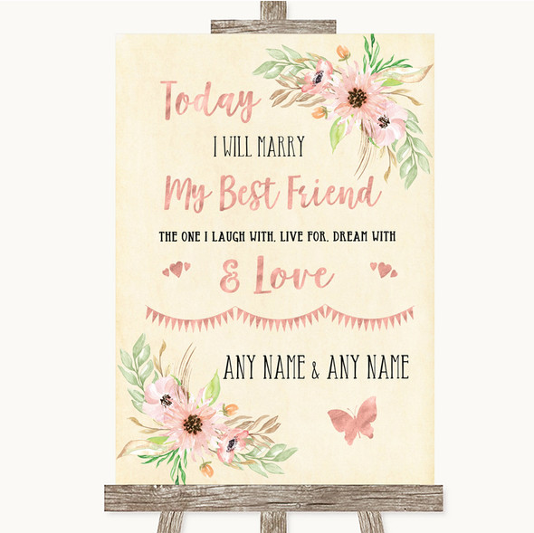 Blush Peach Floral Today I Marry My Best Friend Personalised Wedding Sign