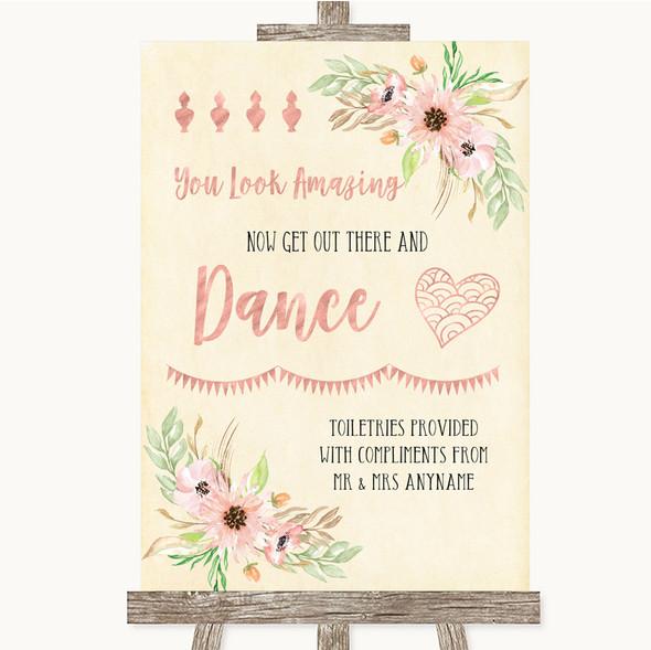 Blush Peach Floral Toiletries Comfort Basket Personalised Wedding Sign