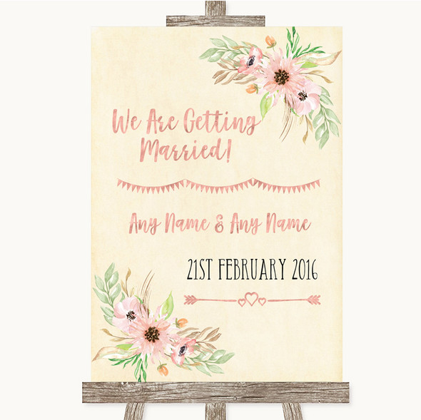 Blush Peach Floral We Are Getting Married Personalised Wedding Sign