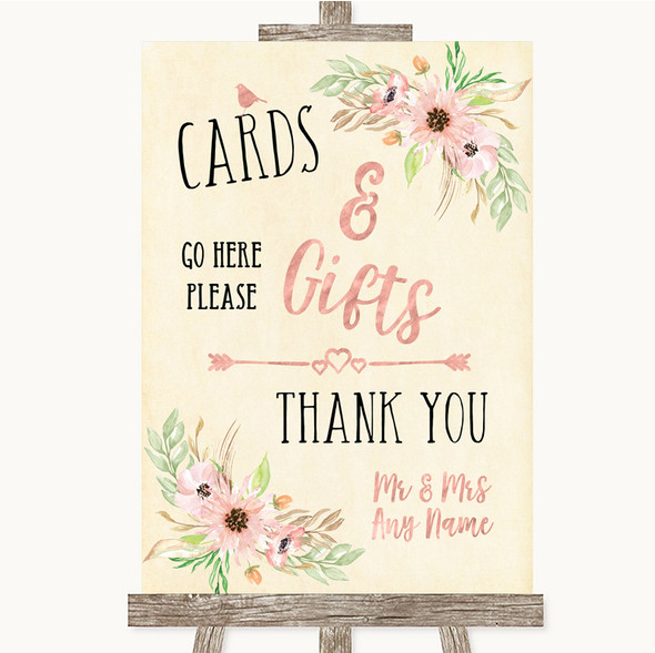 Blush Peach Floral Cards & Gifts Table Personalised Wedding Sign