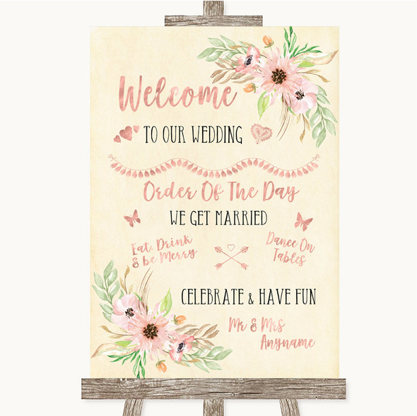 Blush Peach Floral Welcome Order Of The Day Personalised Wedding Sign