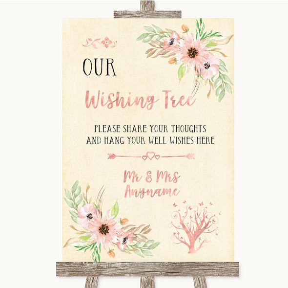 Blush Peach Floral Wishing Tree Personalised Wedding Sign