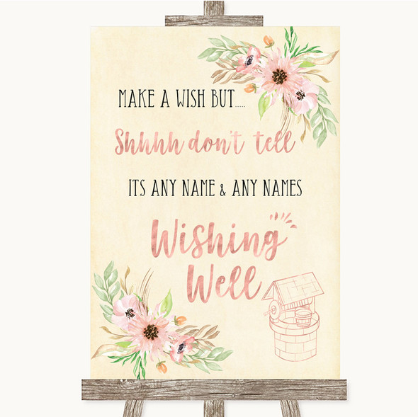 Blush Peach Floral Wishing Well Message Personalised Wedding Sign