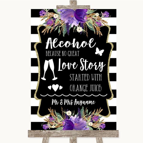 Black & White Stripes Purple Alcohol Bar Love Story Personalised Wedding Sign