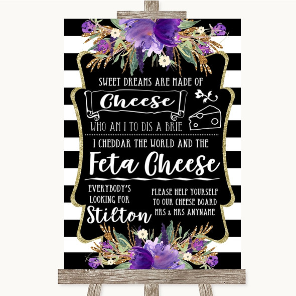 Black & White Stripes Purple Cheeseboard Cheese Song Personalised Wedding Sign