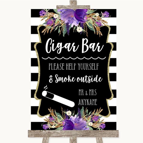 Black & White Stripes Purple Cigar Bar Personalised Wedding Sign