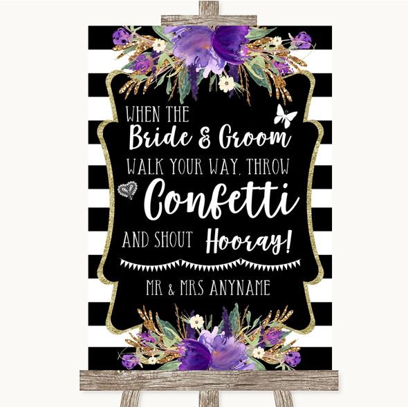 Black & White Stripes Purple Confetti Personalised Wedding Sign
