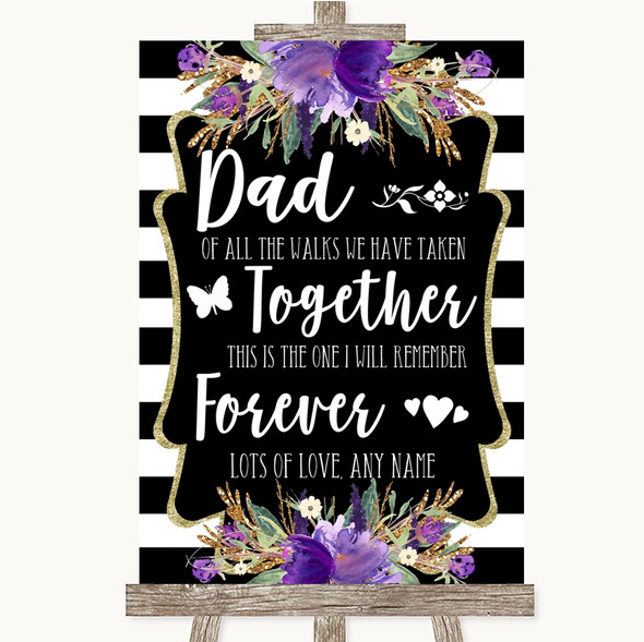 Black & White Stripes Purple Dad Walk Down The Aisle Personalised Wedding Sign