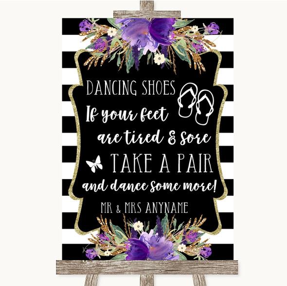 Black & White Stripes Purple Dancing Shoes Flip Flops Personalised Wedding Sign