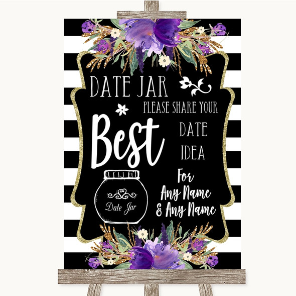 Black & White Stripes Purple Date Jar Guestbook Personalised Wedding Sign