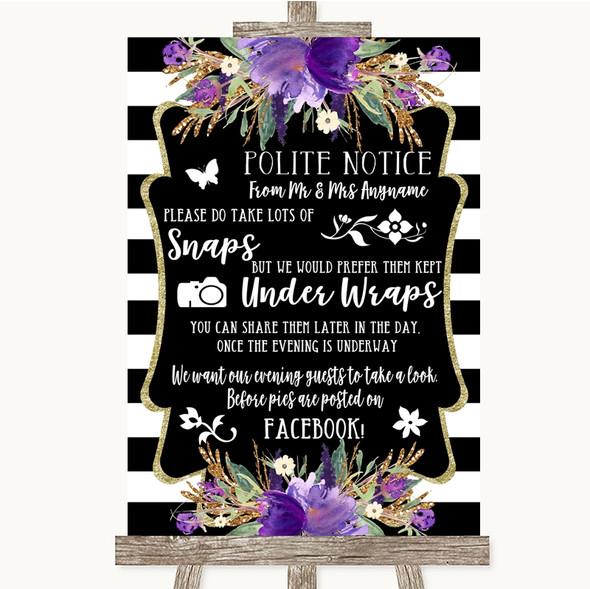 Black & White Stripes Purple Don't Post Photos Facebook Wedding Sign