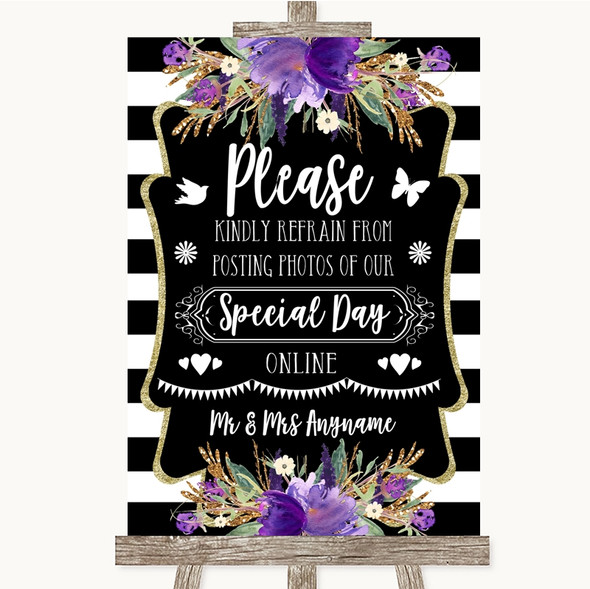Black & White Stripes Purple Don't Post Photos Online Social Media Wedding Sign