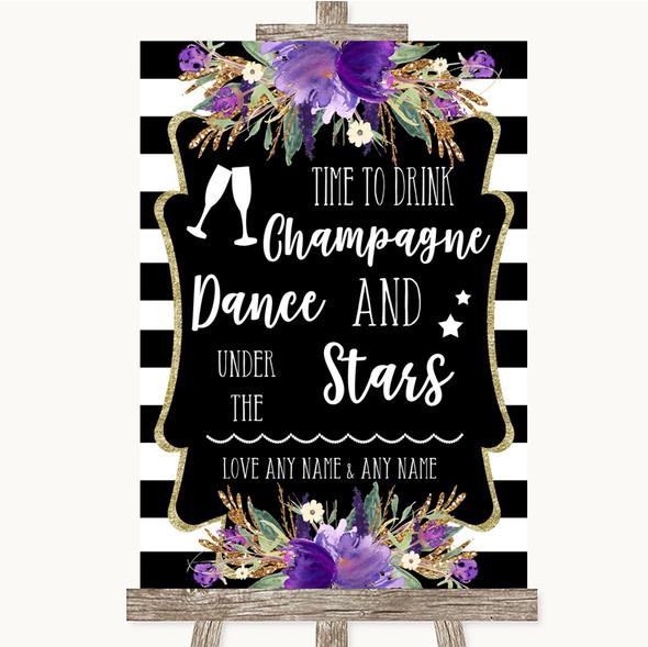 Black & White Stripes Purple Drink Champagne Dance Stars Wedding Sign