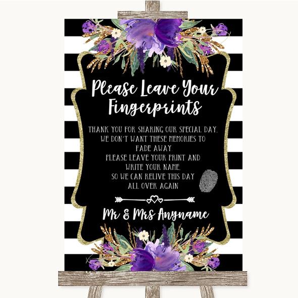 Black & White Stripes Purple Fingerprint Guestbook Personalised Wedding Sign