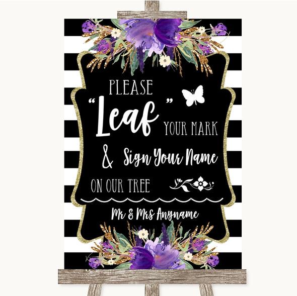 Black & White Stripes Purple Fingerprint Tree Instructions Wedding Sign