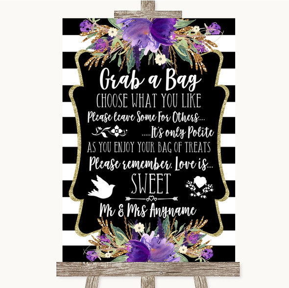 Black & White Stripes Purple Grab A Bag Candy Buffet Cart Sweets Wedding Sign